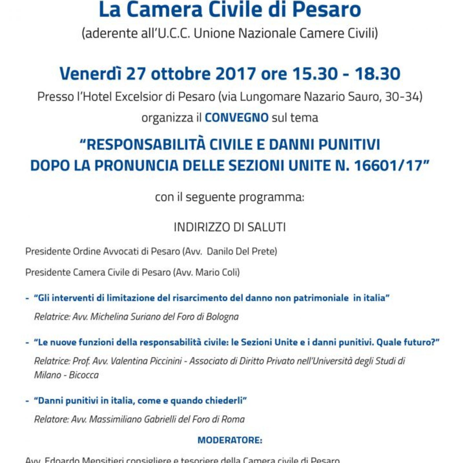 Convegno Camera Civile di Pesaro: responsabilità medica e danni punitivi dopo la pronuncia delle Sezioni Unite n. 16601/2017