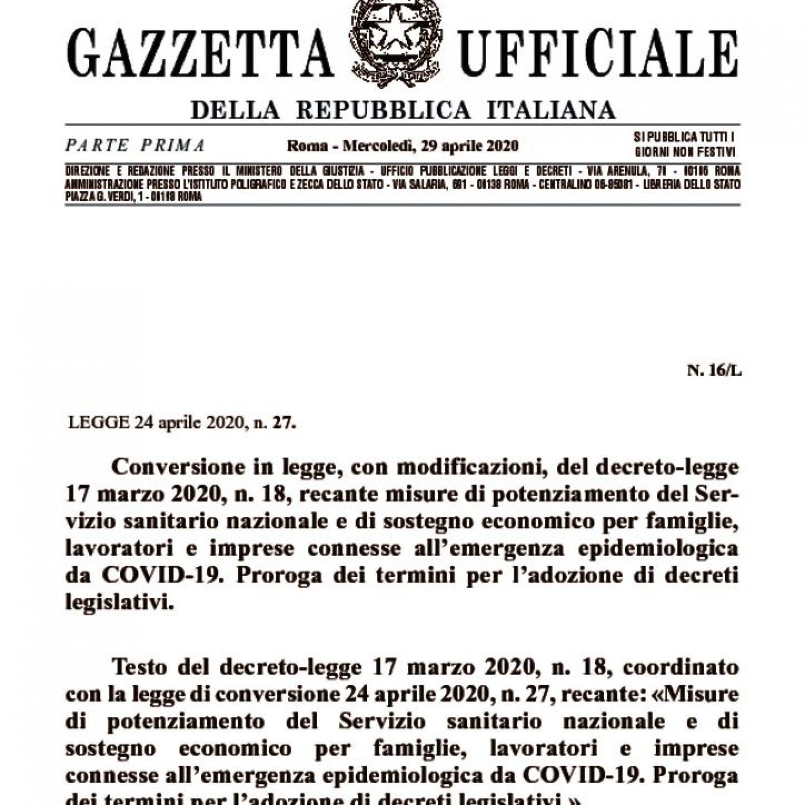 """Conversione del D.L. """"Cura Italia"""" con il testo coordinato"""